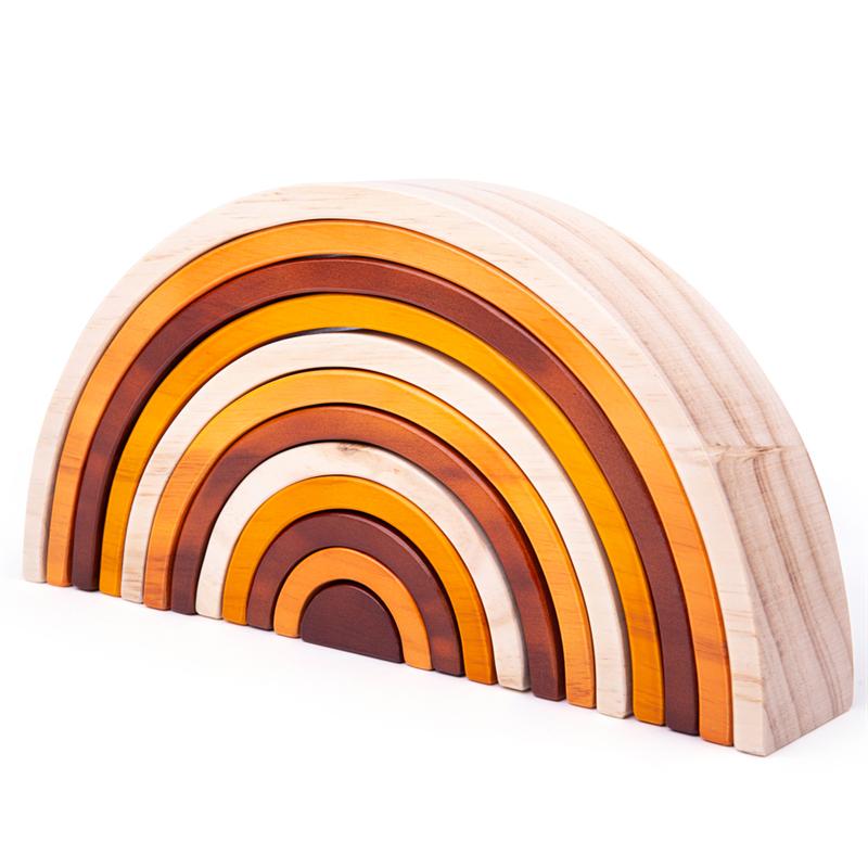 Dřevěné hračky Bigjigs Baby Dřevěná skládací duha přírodní velká Bigjigs Toys
