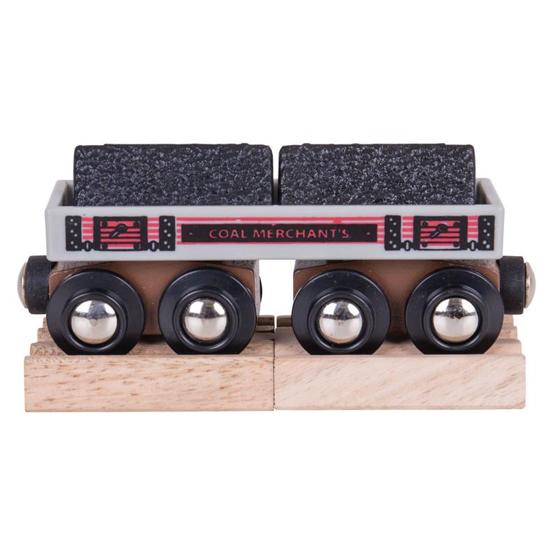 Dřevěné hračky Bigjigs Rail Dlouhý vagónek s uhlím + 2 koleje poškozený obal