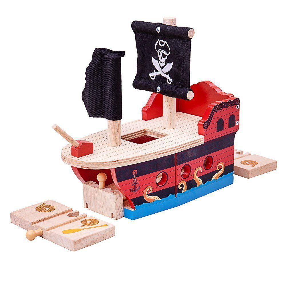 Dřevěné hračky Bigjigs Rail Pirátská galéra poškozený obal