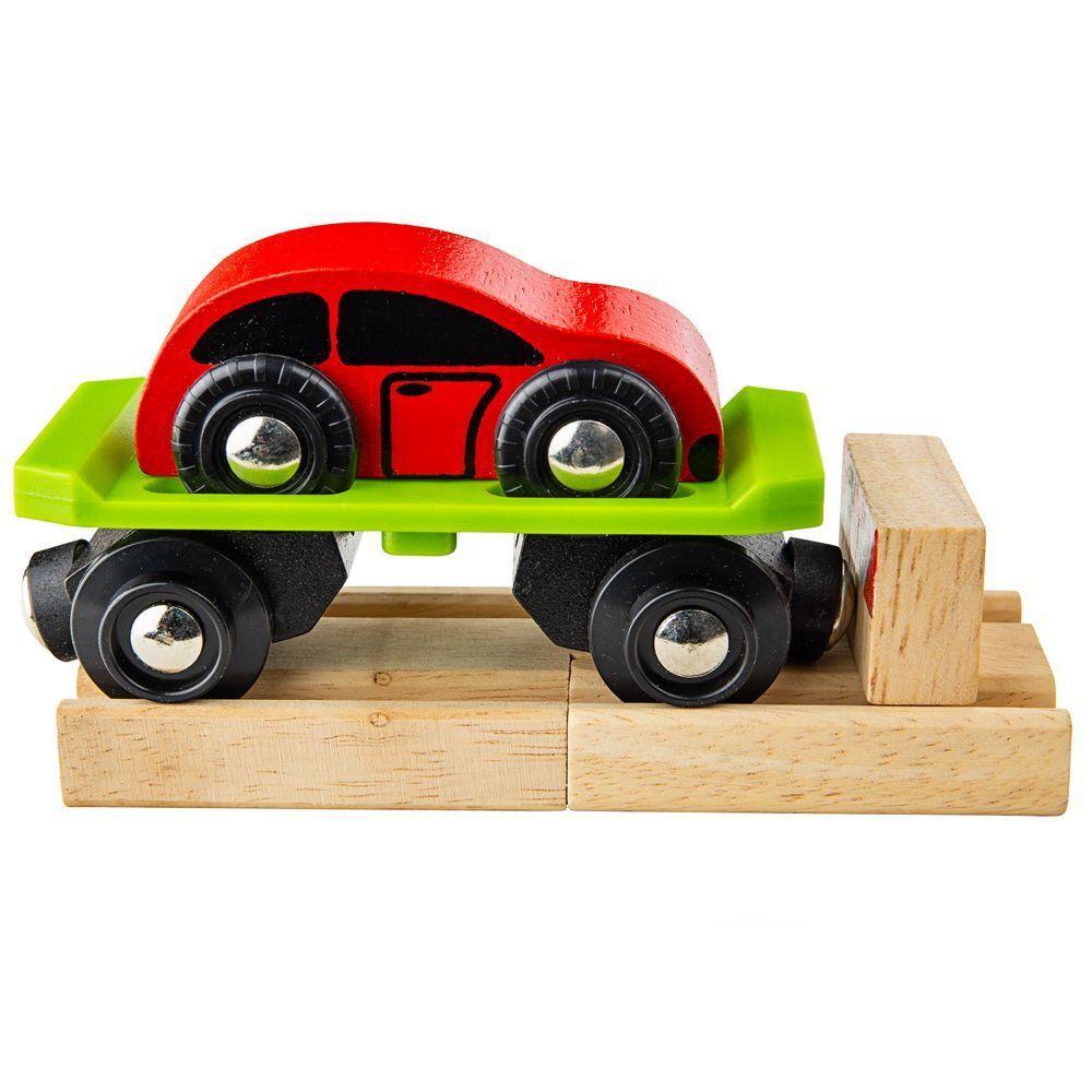 Dřevěné hračky Bigjigs Rail Vagon s autem + 2 koleje poškozený obal