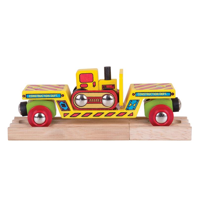 Dřevěné hračky Bigjigs Rail Vagon s buldozerem + 2 koleje poškozený obal