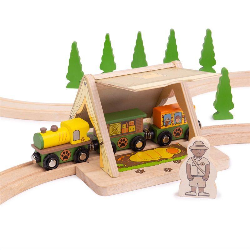 Dřevěné hračky Bigjigs Rail vlak Safari stan
