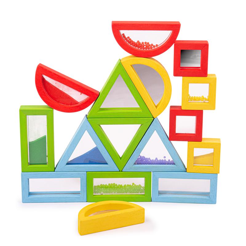 Dřevěné hračky Bigjigs Toys Barevné tvary senzorické duhové