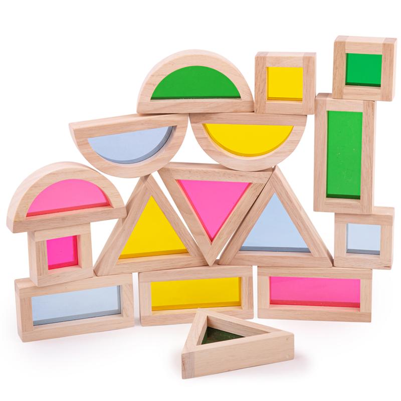 Dřevěné hračky Bigjigs Toys Barevné tvary senzorické přírodní