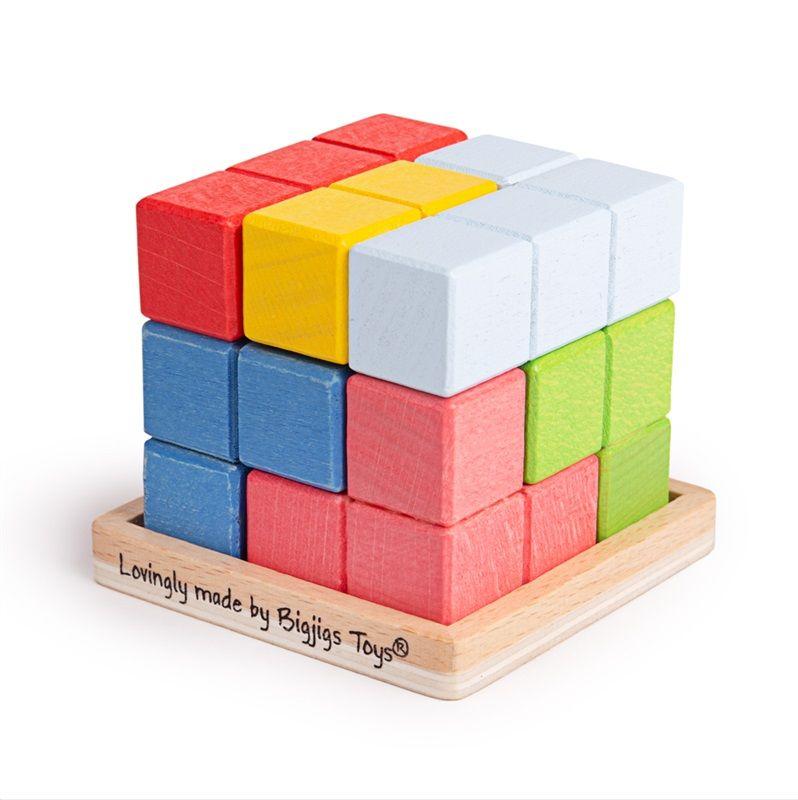 Dřevěné hračky Bigjigs Toys Dřevěná skládací kostka