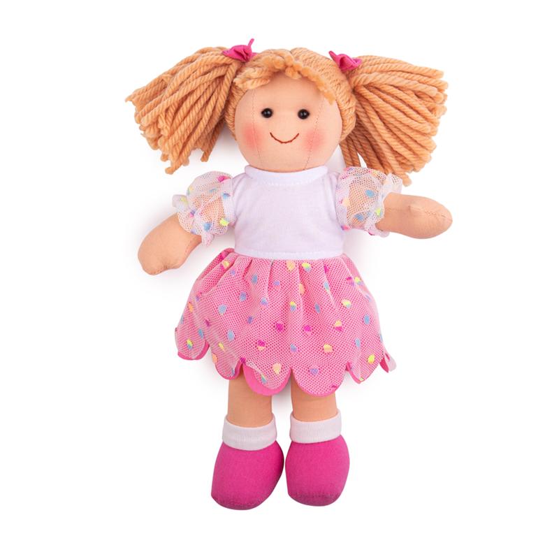 Dřevěné hračky Bigjigs Toys Látková panenka Darcie 28 cm