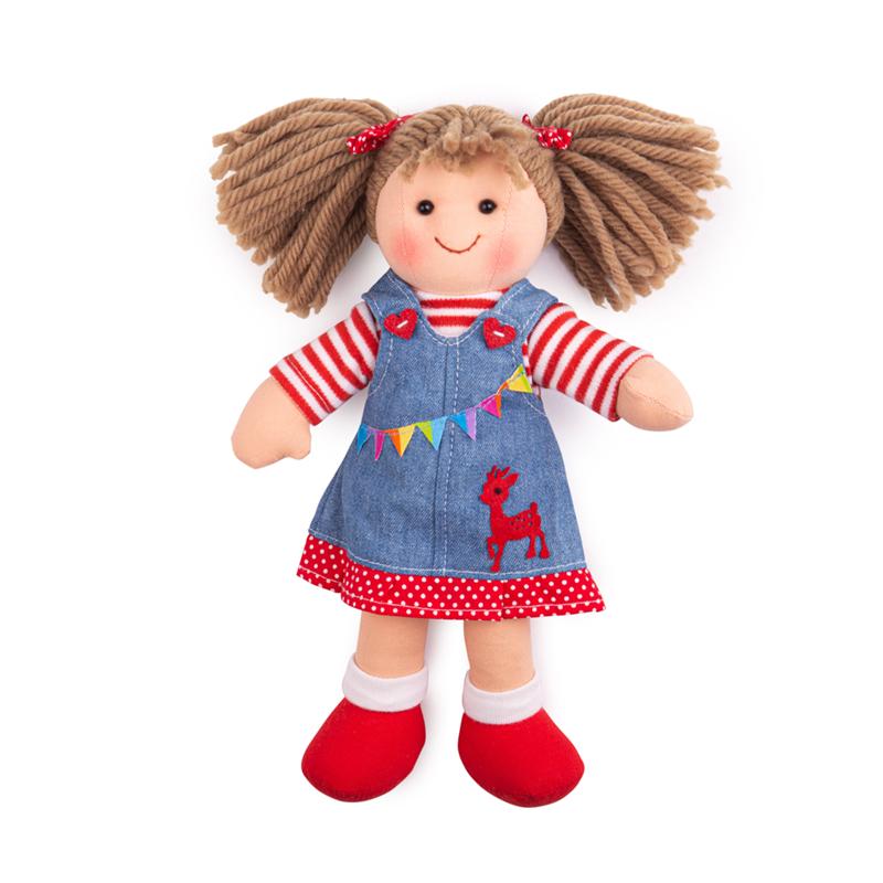 Dřevěné hračky Bigjigs Toys Látková panenka Hattie 28 cm