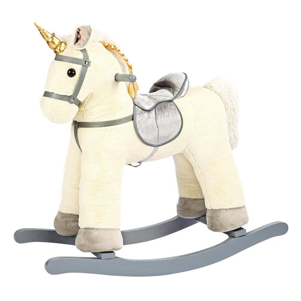 Dřevěné hračky Bino Houpací jednorožec bílý