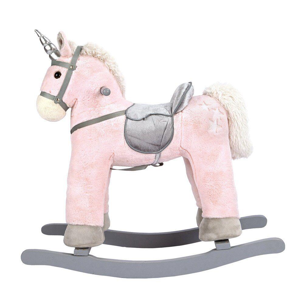 Dřevěné hračky Bino Houpací jednorožec růžový