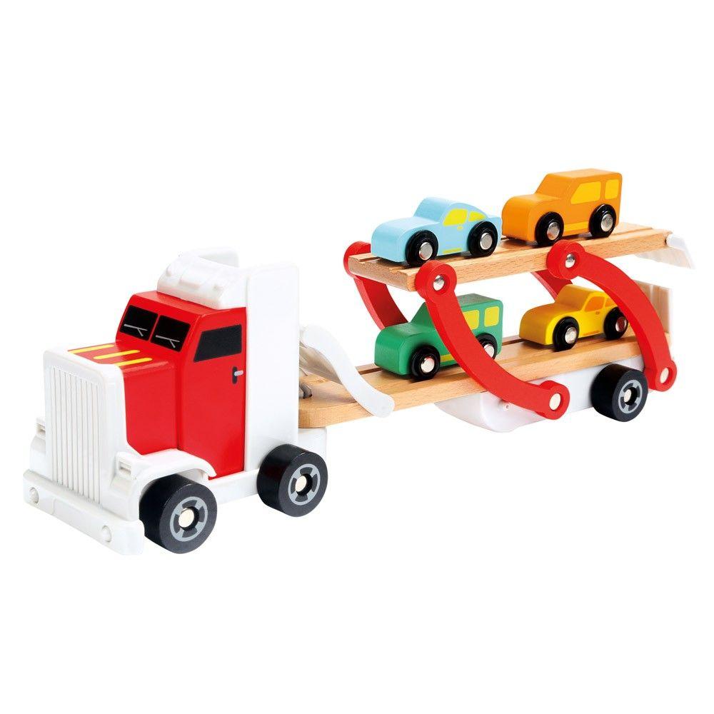 Dřevěné hračky Bino Návěs s auty