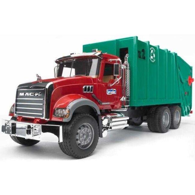 Dřevěné hračky Bruder Nákladní auto MACK Granit popelář zelený poškozený obal