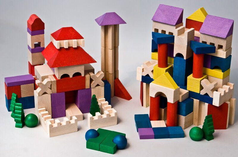 Dřevěné hračky EkoToys Dřevěné kostky barevné 200 ks XL poškozený obal