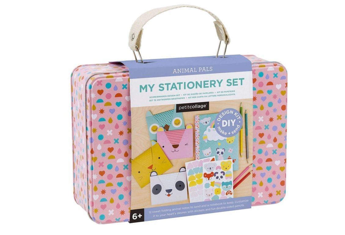 Dřevěné hračky Petitcollage Kreativní kufřík s přáníčky poškozená kovová krabička