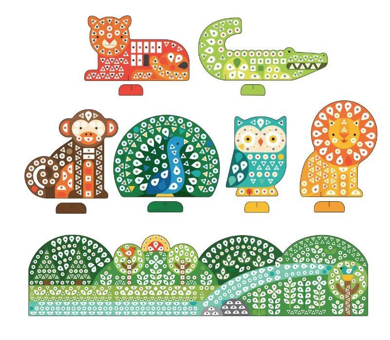 Dřevěné hračky Petitcollage Kreativní puzzle se samolepkami zvířátka - 1000 kusů poškozený obal