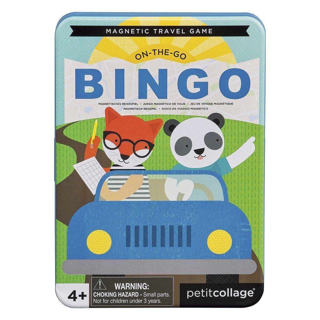 Dřevěné hračky Petitcollage Magnetická hra Bingo poškozená kovová krabička