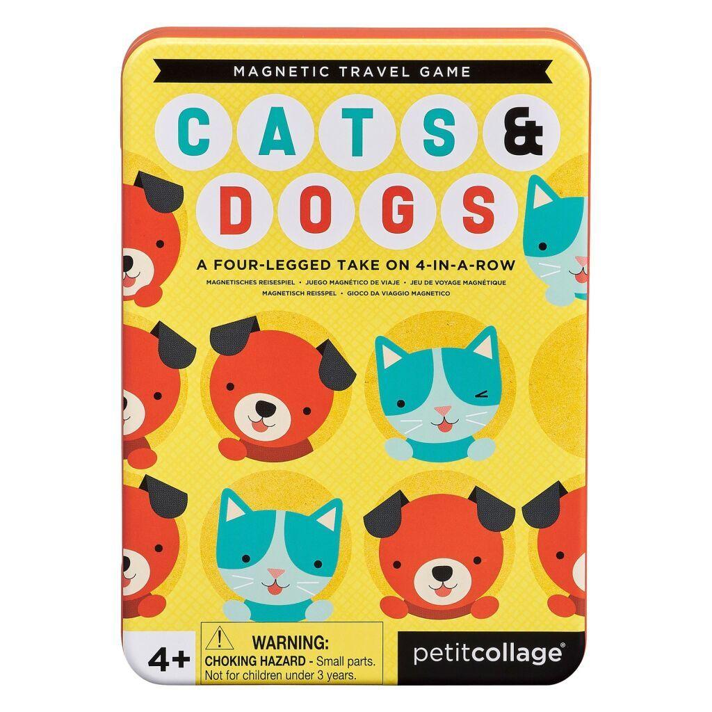 Dřevěné hračky Petitcollage Magnetická hra Kočky a psi poškozená kovová krabička