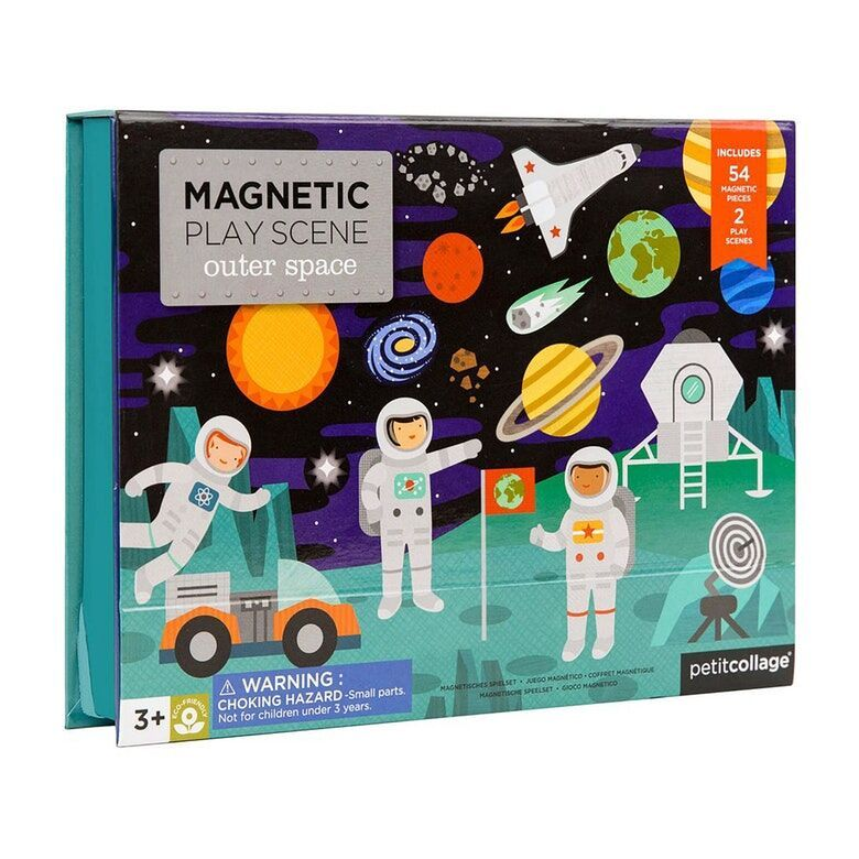 Dřevěné hračky Petitcollage Magnetické divadlo vesmír poškozená krabička