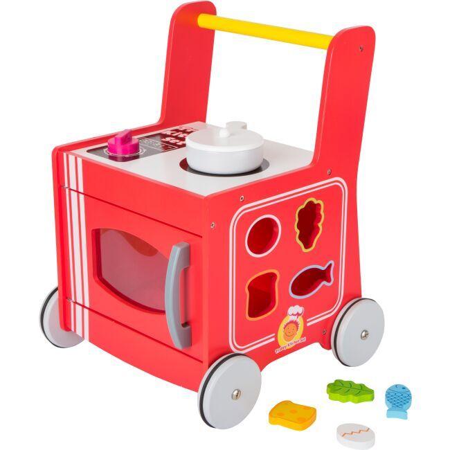 Dřevěné hračky Small Foot Dřevěný vozíček kuchyňka červená poškozený obal Small foot by Legler