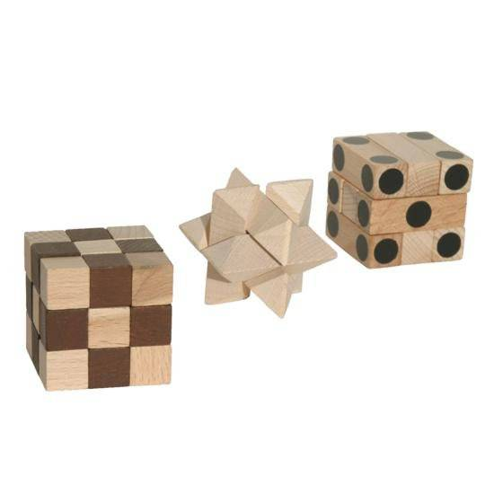 Dřevěný hlavolam IQ Trio