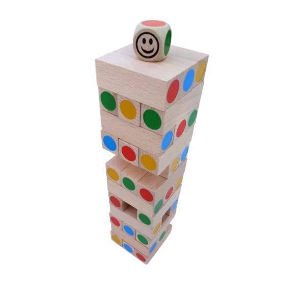 Dřevěná hra Věž Jenga MINI barevná