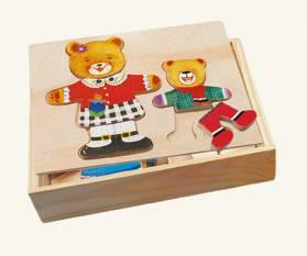 Dřevěná šatní skříň - madvědice + medvídek