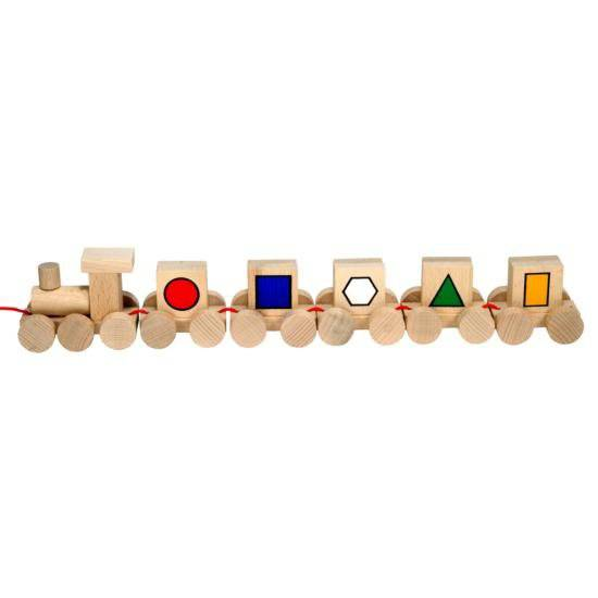 Dřevěné hračky Dřevěný Vláček s obrázky M.I.K.