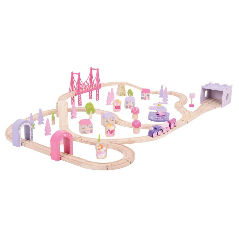 Dřevěné hračky Bigjigs Raill Dřevěná velká vláčkodráha princezny