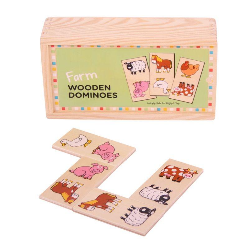 Dřevěné hračky Bigjigs Toys Dřevěné domino farma