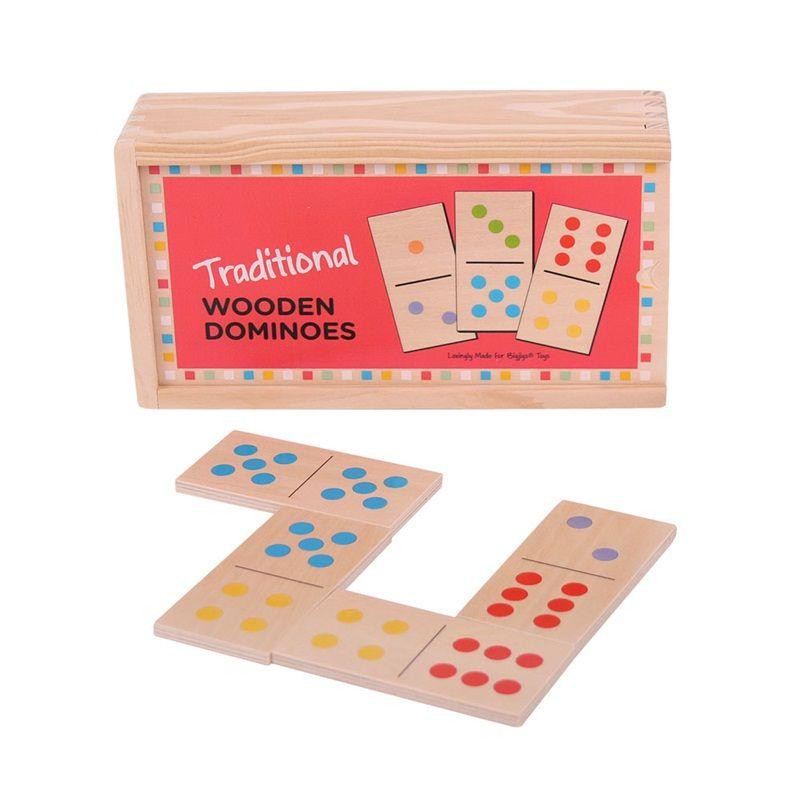 Dřevěné hračky Bigjigs Toys Dřevěné domino klasické