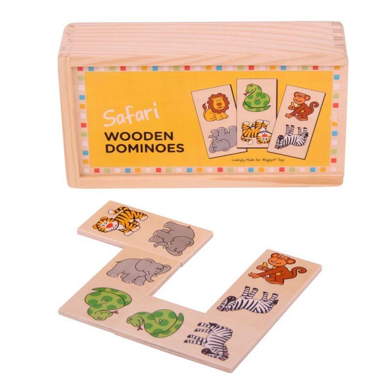 Dřevěné hračky Bigjigs Toys Dřevěné domino safari