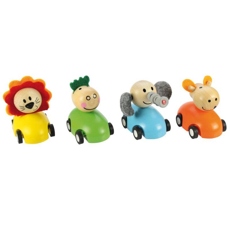 Dřevěné hračky Bigjigs Toys Barevné dřevěné auto se zvířátky 1ks