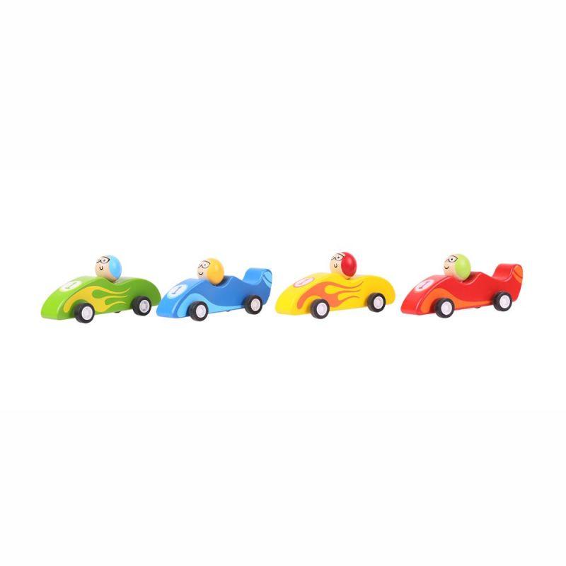 Dřevěné hračky Bigjigs Toys Barevné dřevěné závodní auto 1ks