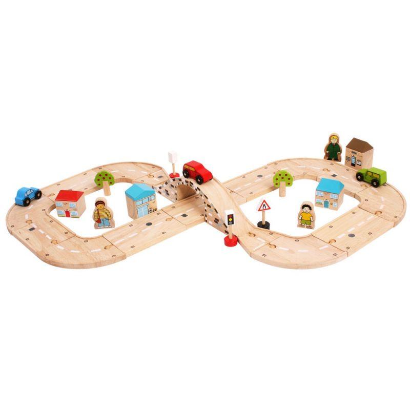 Dřevěné hračky Bigjigs Rail Dřevěná autodráha osmička