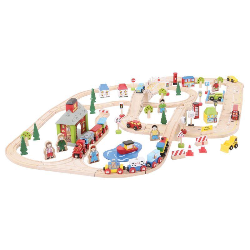 Dřevěné hračky Bigjigs Rail Vláčkodráha a autodráha