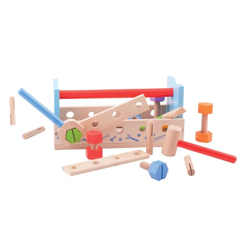Dřevěné hračky Bigjigs Toys Ponk a přepravka na nářadí 2v1
