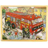 Bigjigs Toys dřevěné hračky - Puzzle Hasiči - 24 dílků