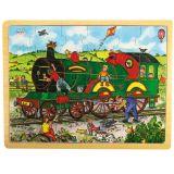 Bigjigs Toys dřevěné hračky - Puzzle Vlak - 24 dílků