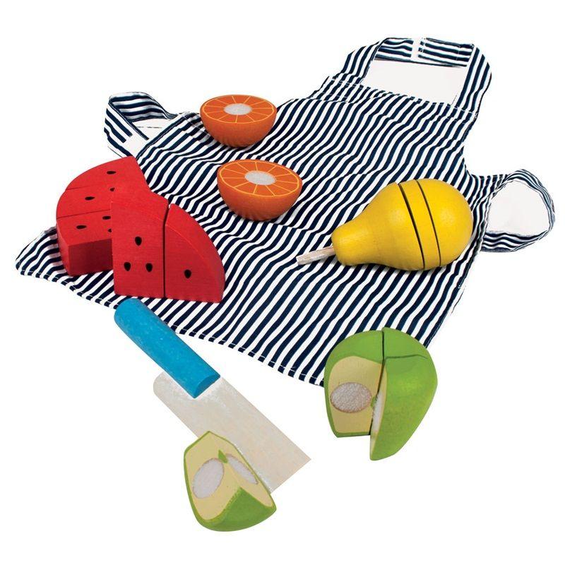 Dřevěné hračky Bigjigs Toys Dřevěné krájecí ovoce se zástěrou