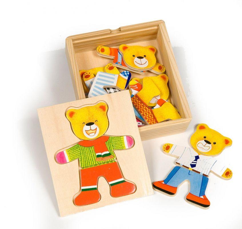 Dřevěné hračky Bigjigs Toys Oblékací puzzle Pan medvěd