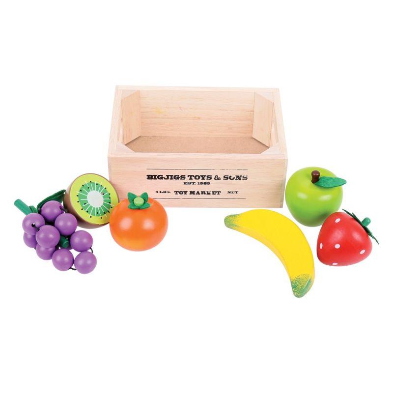Dřevěné hračky Bigjigs Toys Ovoce v přepravce
