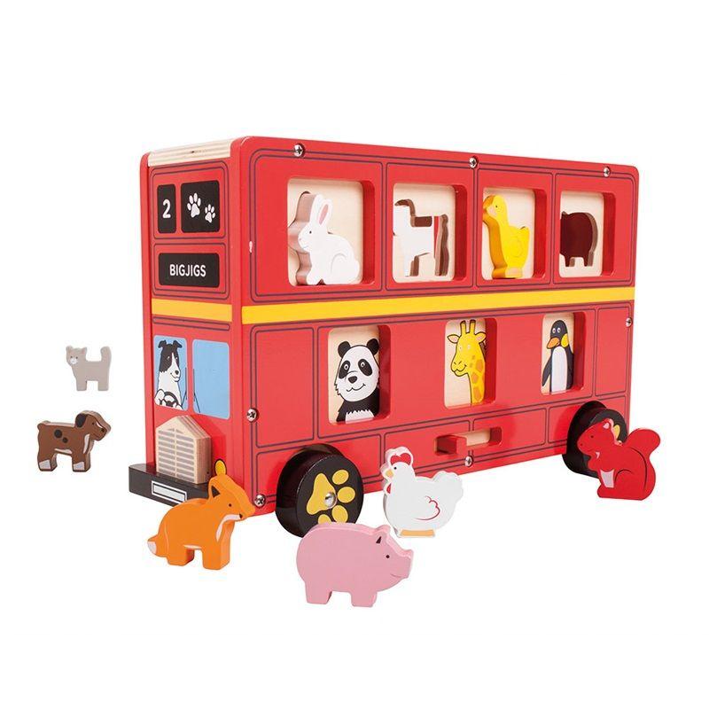 Dřevěné hračky Bigjigs Toys Dřevěný autobus se zvířátky