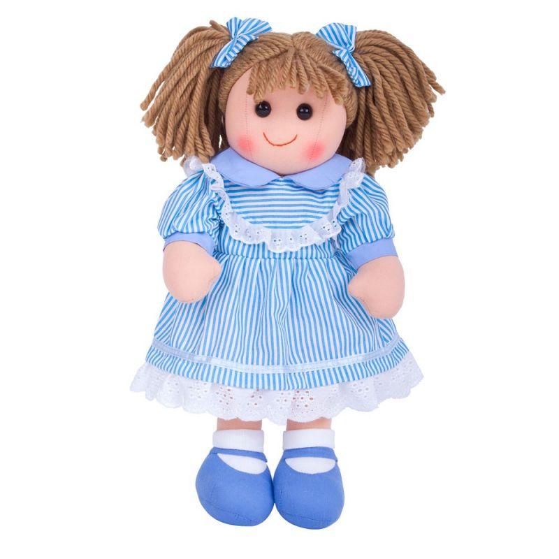 Dřevěné hračky Bigjigs Toys Látková panenka Amelia 35 cm