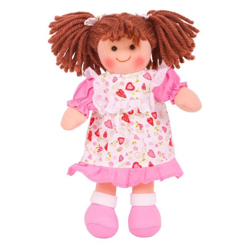 Dřevěné hračky Bigjigs Toys Látková panenka Amy 28 cm