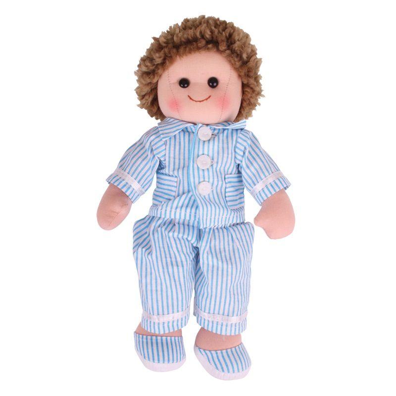 Dřevěné hračky Bigjigs Toys Látková panenka Arthur 34 cm