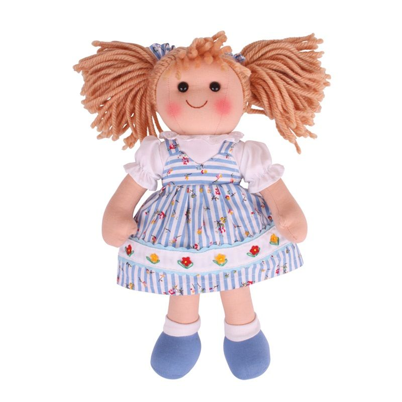 Dřevěné hračky Bigjigs Toys Látková panenka Christina 35 cm