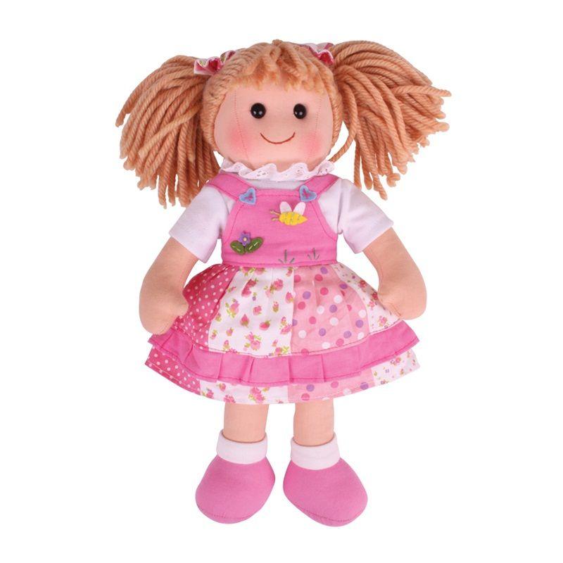Dřevěné hračky Bigjigs Toys Látková panenka Hayley 34 cm