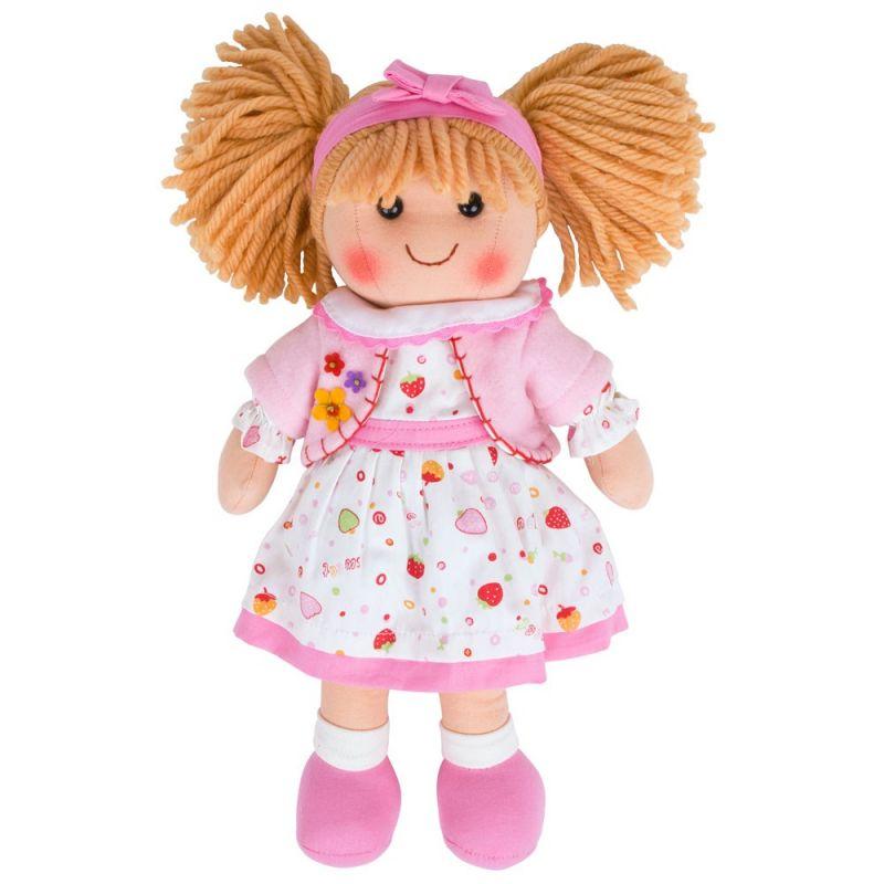 Dřevěné hračky Bigjigs Toys Látková panenka Kelly 35 cm