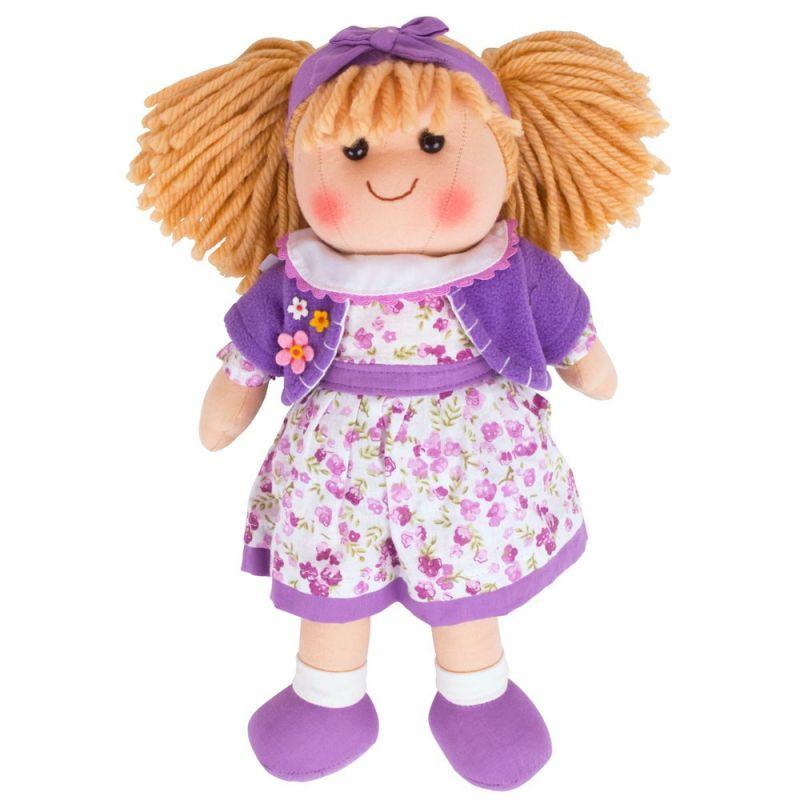 Dřevěné hračky Bigjigs Toys Látková panenka Laura 34 cm