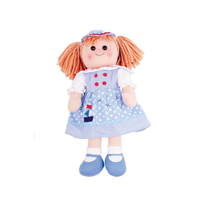Dřevěné hračky Bigjigs Toys Látková panenka Louise 38 cm