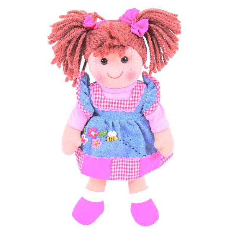 Dřevěné hračky Bigjigs Toys Látková panenka Melody 34 cm